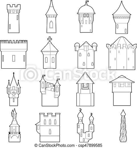 castle tower icons set color outline eps vector_csp47899585 castle tower icons set color, outline style castle tower icons set