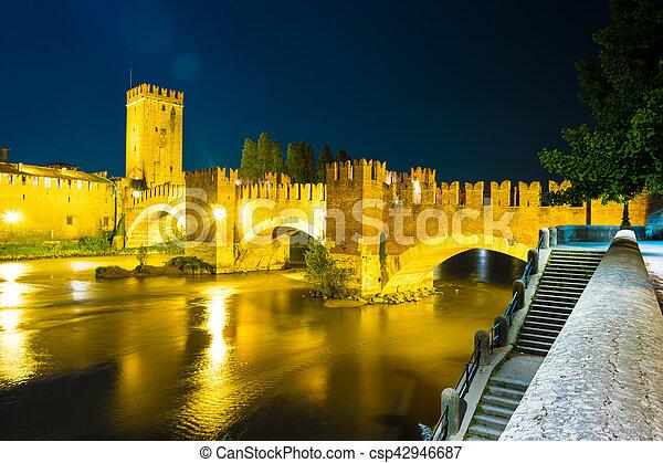 Castle Vecchio at summer night in Verona, Italy - csp42946687
