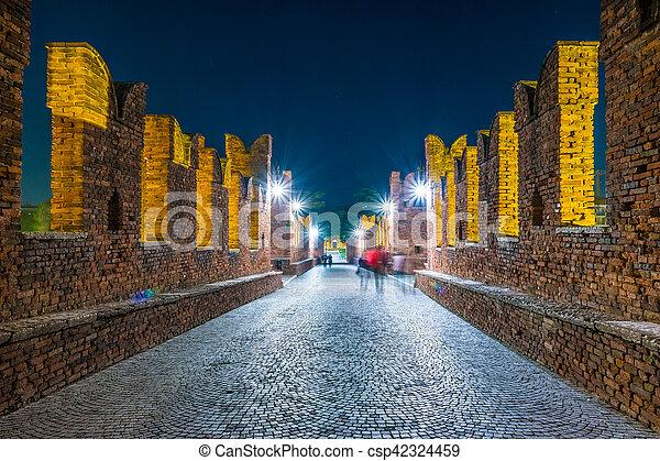 Castle Vecchio at summer night in Verona, Italy - csp42324459