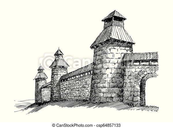 Castle wall hand made illustration - csp64857133