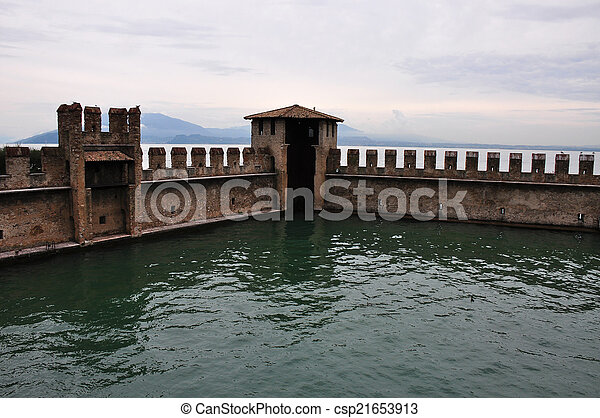 castle wall of fortress in Sirmione - csp21653913