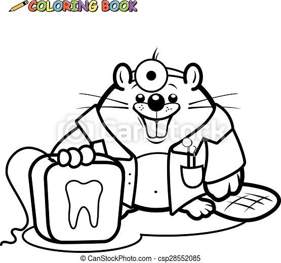 Castor, dentista, libro colorear, página. Dental, floss ...