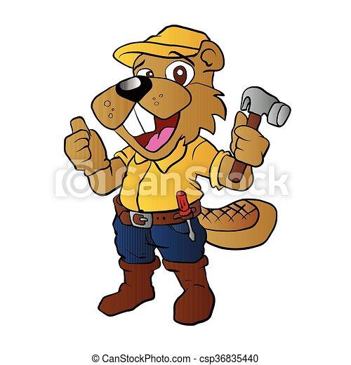 Beaver sosteniendo un martillo - csp36835440