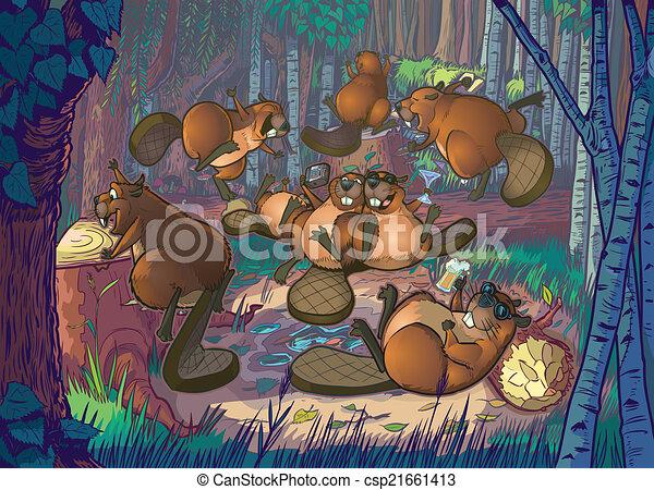 Castori cartone animato foresta festa livelli carino gruppo