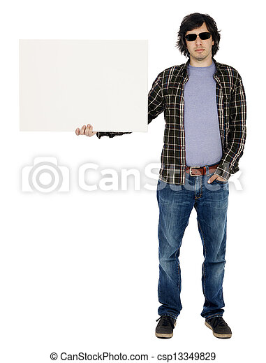 Casual 30's Guy with Sunglasses Holding Sign - csp13349829