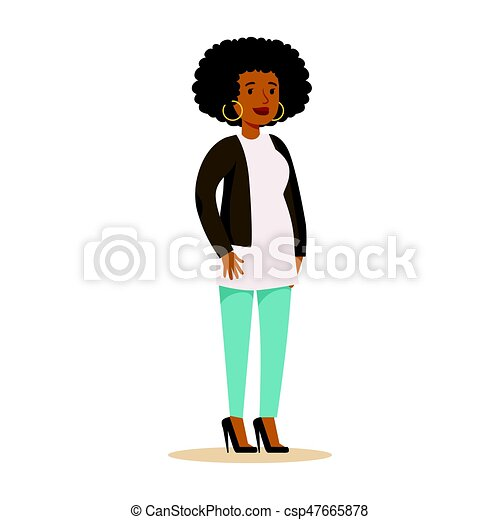 Casual African American Girl With Curly Hair And Big Earrings