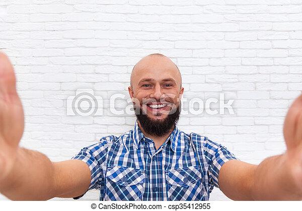 Casual Bearded Business Man Taking Selfie Photo - csp35412955