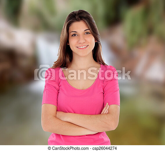 Casual cool young woman  - csp26044274