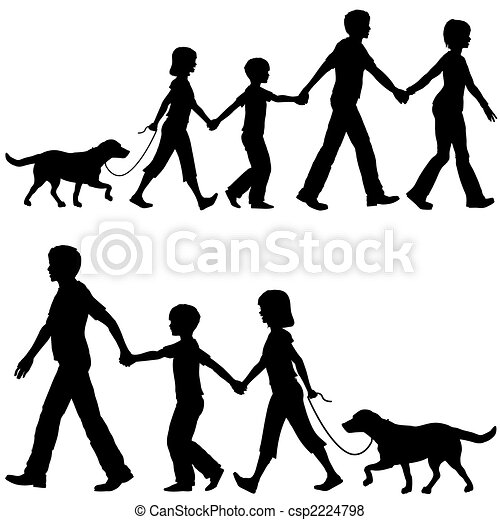 Casual family mom dad lead kids and dog on walk - csp2224798