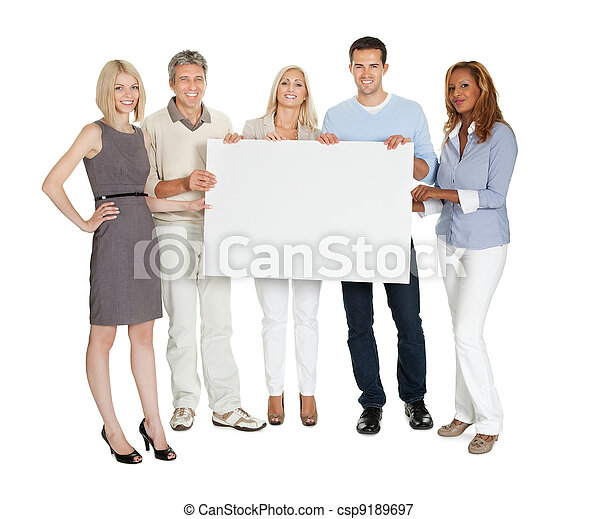 Casual group of people holding a billboard - csp9189697