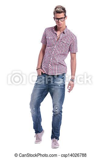 casual man posing on white