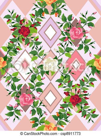 Casual roses seamless - csp8911773
