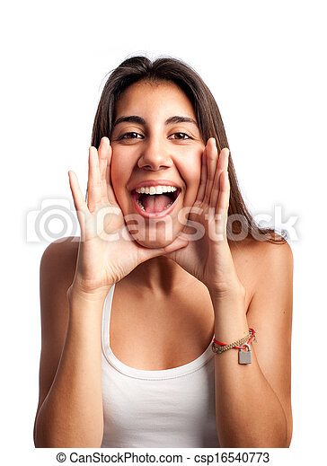 casual young woman screaming - csp16540773