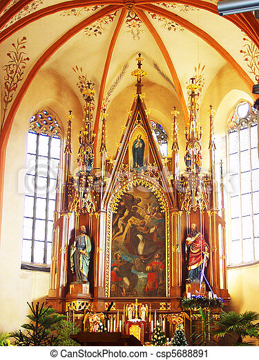 católico, church., christm, altar - csp5688891