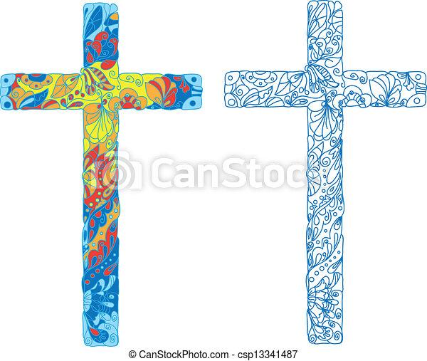 Católico, feriado, pascua, cruz, adornado. Católico, natural ...