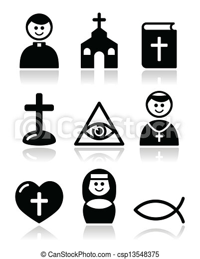 Religión, iconos de iglesia católica - csp13548375