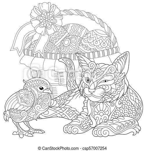 Cat and baby chicken - csp57007254