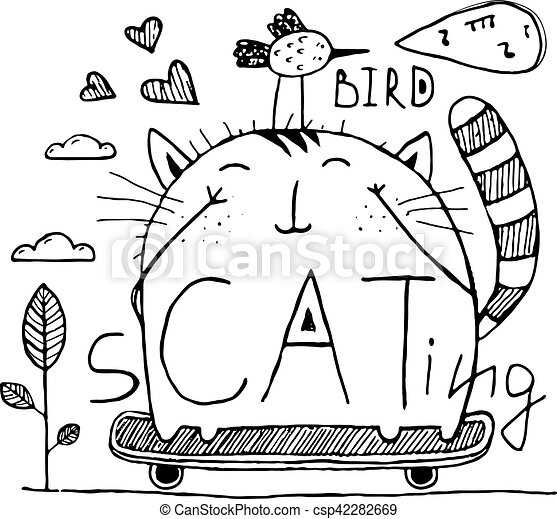 Cat And Bird Cute Friends Skateboarding Outline Hand Drawn