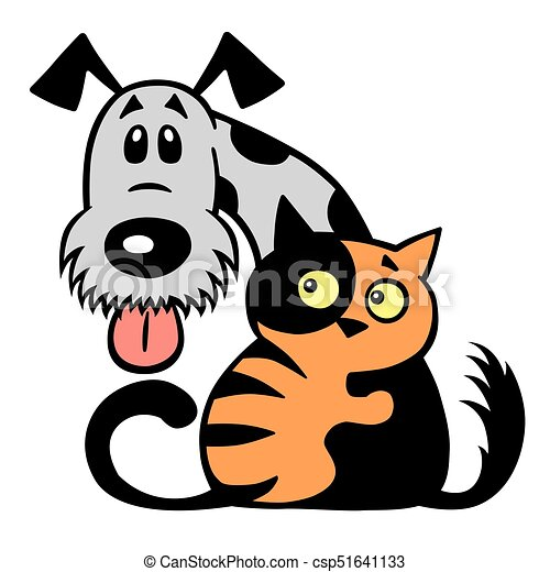 cat and dog friendship cartoon little cat hugging his dog rh canstockphoto com dog vector files dog silhouette vectors