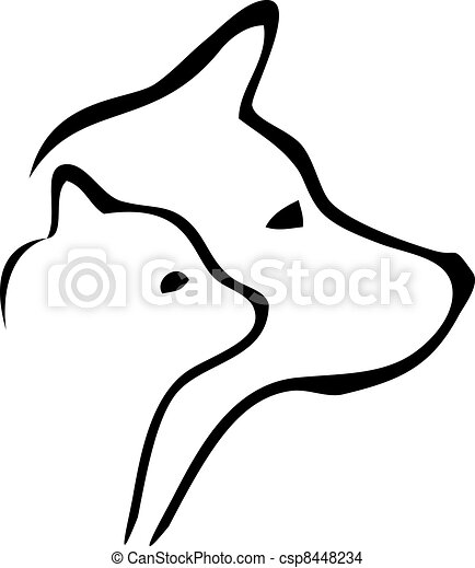 Cat and dog heads logo - csp8448234