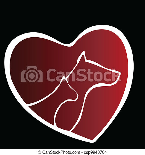 Cat and dog heart silhouette logo - csp9940704