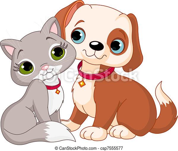 Cat and dog - csp7555577