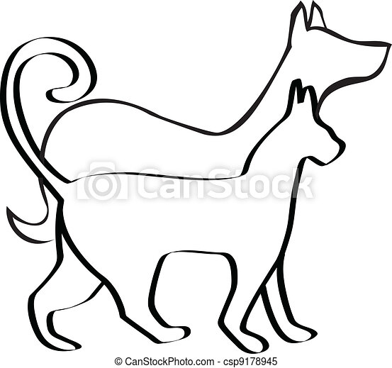 Cat And Dog Logo Cat And Dog Walking Together