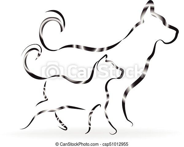 Cat and dog logo silhouettes - csp51012955