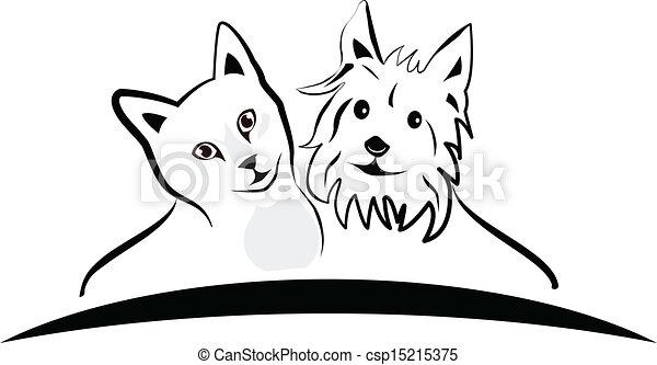 Cat and dog logo vector - csp15215375