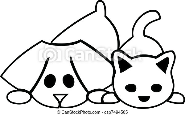Cat and dog puppies logo - csp7494505