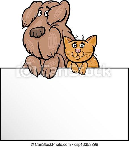 cat and dog with card cartoon design - csp13353299