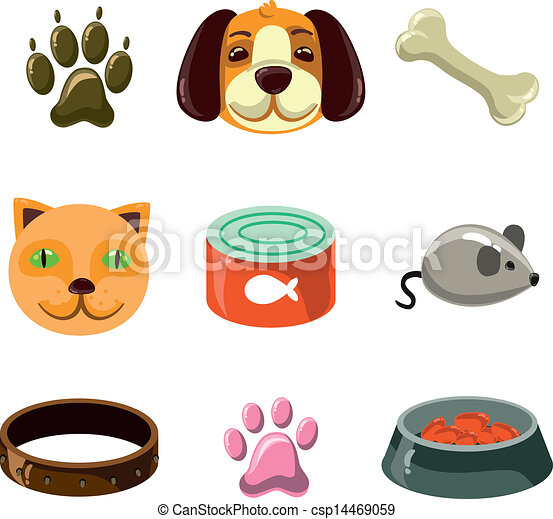 cat and dog with toys and food - csp14469059