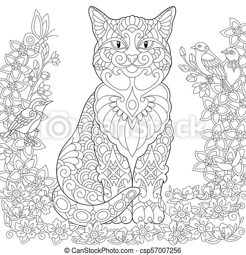 Cat And Spring Birds In The Garden Coloring Page Of Cat And