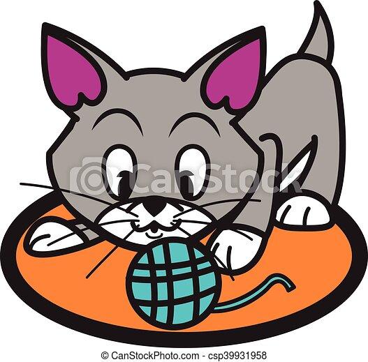 cat and yarn ball vector art illustration