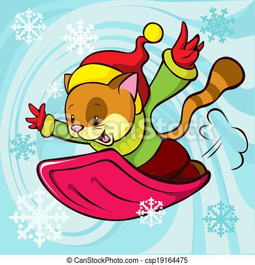cat cartoon bobsledding - csp19164475