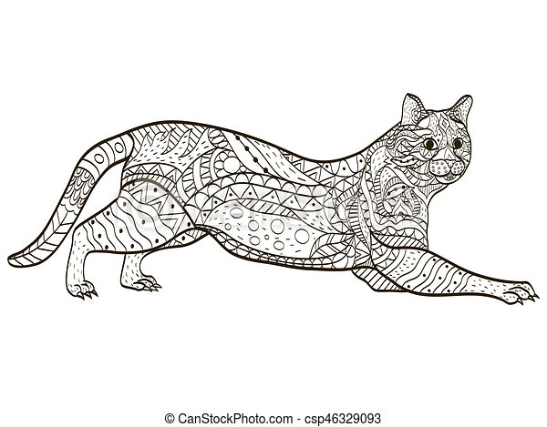 Cat coloring book vector for adults. Cat animal coloring... eps ...