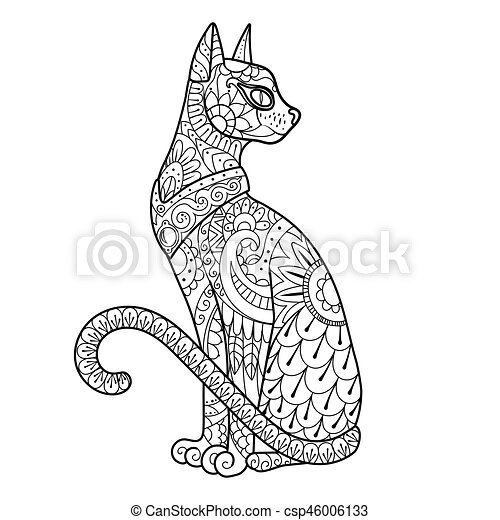 Cat Coloring Book Vector Illustration Black And White Lines Lace Pattern
