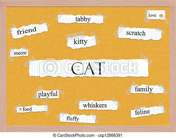 Cat Corkboard Word Concept - csp12866391