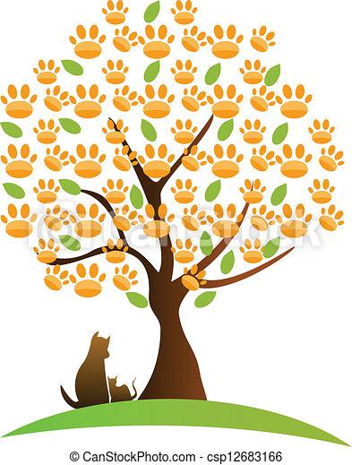 Cat , dog and tree logo - csp12683166