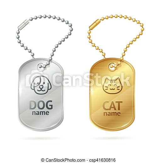 Cat Dog Animal Tags or Medallion. Vector - csp41630816