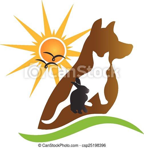Cat dog rabbit silhouettes logo - csp25198396