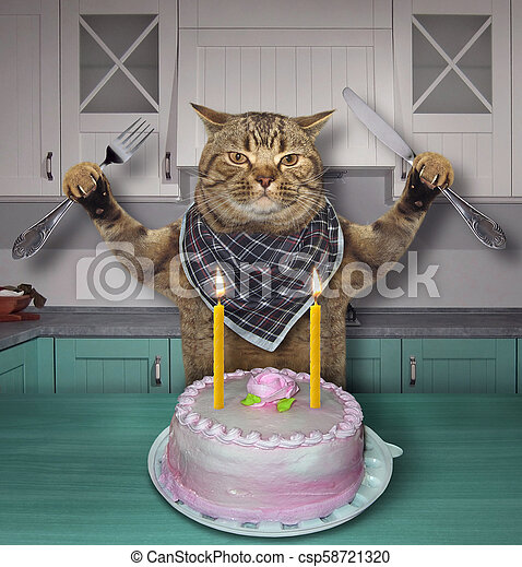 Brilliant Cat Eats The Birthday Cake The Cat With A Knife And A Fork Eats Personalised Birthday Cards Veneteletsinfo