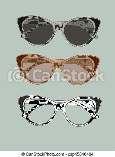 b120c672fda8 Cat eye retro glasses illustration. Eye wear vector. - csp45840404