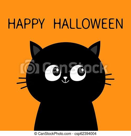 Cat Face Halloween Orange Happy Halloween Black Cat Sitting