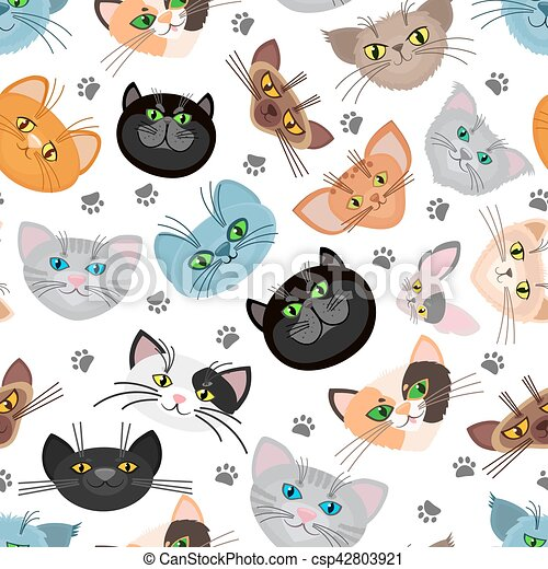 Cat face vector background with paws - csp42803921
