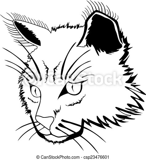 cat face stylized face of cat isolated on white background vector rh canstockphoto com cat face clipart black and white free cat face clipart black and white free