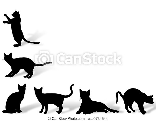 Cat frame. Illustration about funny cats silhouette in typical poses.