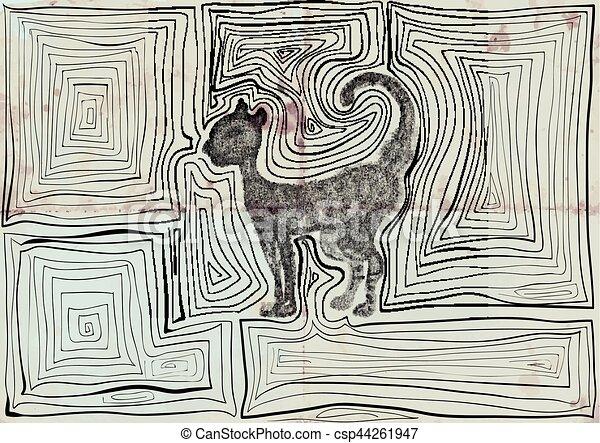 cat hand drawn vector - csp44261947