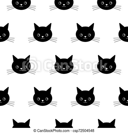 Cute Black Cat Head Seamless Pattern Vector Halloween Isolated Wallpaper Background