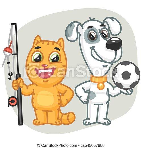 Cat Holding Big Fish Dog Holding Soccer Ball - csp45057988